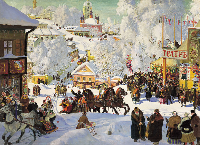 Human Society - Maslenitsa, Boris Kustodiyev, 1919; Isaak Brodsky Museum, Saint. Petersburg.