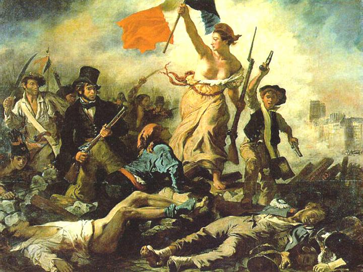 A painting of a woman leading revolutionaries in the French Revolution