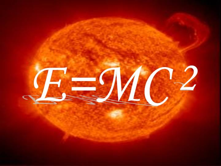2. Principles. Fields: Physics. Image: The Albert Einstein's famous equation, e=mc2, on the background of the image of the sun (NASA).