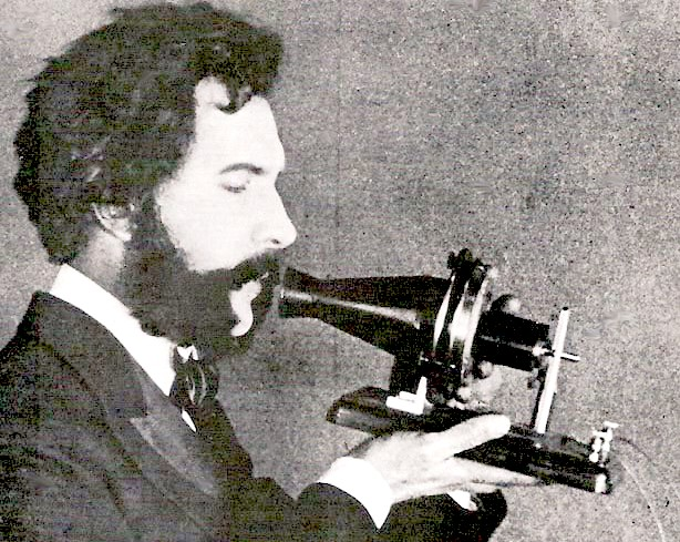 2. Professions. Fields: Engineering. Image: Alexander Graham Bell speaking into a prototype telephone, 1876.
