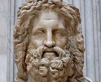 """3.1 Ancient. Fields: Egyptian Mythology, Greek Mythology. Image: So-called """"Zeus of Otricoli"""". Marble, Roman copy after a Greek original from the 4th century; Sala Rotonda, Museo Pio-Clementino, Vatican; Photograph: Marie-Lan Nguyen (2006)."""